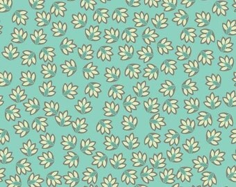 VERONA by Emily Taylor Design ~ Fabric ~ Leaves in Aqua ~ Riley Blake ~ Remnant ~ Quilting ~ Sewing ~ Home Decor ~ Crafting ~ Leaf ~ Grey