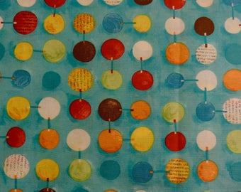 CIRCUS by Nancy Wolff ~ Fabric ~ Circle Links in Blue ~ KOKKA Japanese Fabrics ~ Geometric ~ Circles ~ Kids ~ Quilting ~ Sewing ~ Animals