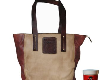 Women's Tote bag TOKYO brown genuine leather