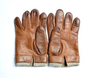mens Vintage Leather Gloves by Yves Saint Laurent / size 8.5 / brown colour / with angora and wool blend lining / driving / made in Italy