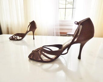 Strappy High Heels Shoes Brown Satin