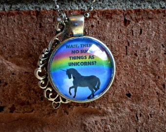 Supernatural Jewelry - No such thing as Unicorns - Just My Imagination - SPN - Dean and Sam - Unicorn - Cabochon Pendant Necklace