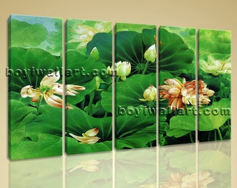 Large Water Lily Pond Canvas Art Abstract Dining Room Pentaptych Pieces print, Large Water Lily Wall Art, Dining Room, San Felix