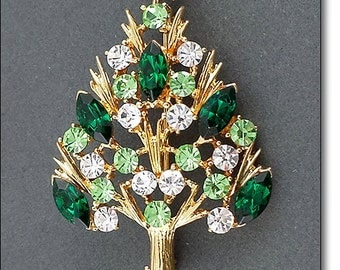 Eisenberg Ice  Christmas Tree Pin with Dark Green, Light Green, and Clear Rhinestones  (Inventory #J844)