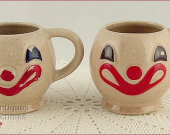 McCoy Pottery Pair of Vintage Clown Face Mugs / Cups (Inventory #3783)