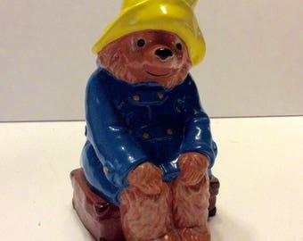 Paddington Bear Eden Toys 1978 Gorham Korea bank figurine. Free ship