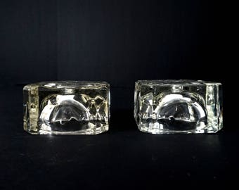 Lot of 2 Thick Clear Glass Vintage Lamp Base Salvage Repurpose