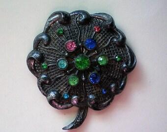 Little Nemo Pot Metal Flower Brooch signed LN/25 - 5304