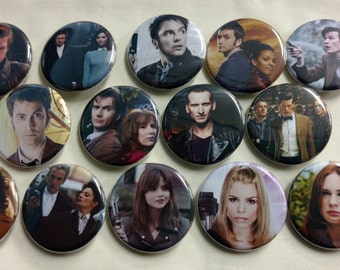 """Doctor Who Set of 14 Magnet or Pin Set - 1.25"""""""