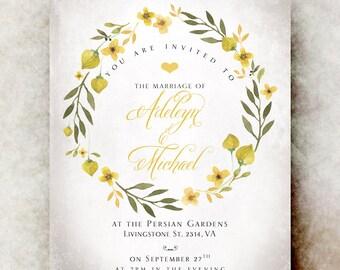 Floral Wedding Invitation printable - elegant wedding invitation, yellow wedding invitation, romantic wedding invitation