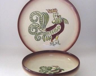 Brock of California Chanticleer Dinner Plate and Vegetable Serving Bowl