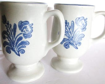 Vintage Pair Pfaltzgraff  COFFEE CUPS MUGS Blue Floral Large Handles 5in Tall You Always Need Extra Coffee Cups Pristine Condition