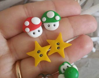 Supermario  stars earrings studs Nintendo mushroom yoshi  egg gamer  retro games
