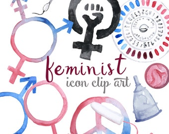 Watercolor Feminist Icon Clip Art Digital Download