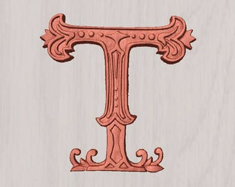 "Wooden Letter T ~  6"" - 20"" Tall Wood Carved Letter T, Wooden Letter Wall Decor, Vintage T Initial, Letter T Wood Decor, Wood Nursery Letter"