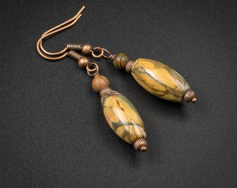 Picasso jasper earrings Picasso jasper and copper handmade semiprecious stone drop earrings picasso jasper jewelry earth tone earrings