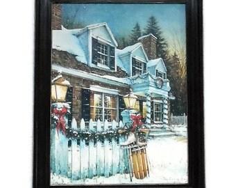 Christmas Picture, Season of Light, Seasonal Decor, Wall Hanging, Framed Art Print, Handmade, 28 X 22, Custom Wood Frame, Made in USA