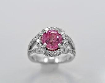 Estate Engagement Ring - Fashion Ring 3.65ct. Sapphire, Diamond & Gold - J36077