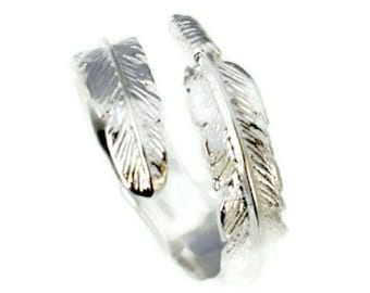 Adjustable 925 Sterling Silver Feather Ring