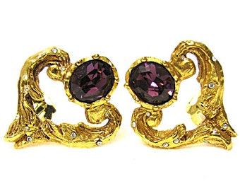 CHRISTIAN LACROIX, lovely hearts structured vintage earrings