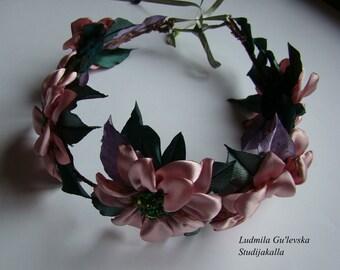Wedding hair accessories, Bohemian hair wreath ,satin fabric flower,100% handmade.