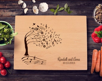 Personalized Cutting Board Music Tree Wedding Anniversary Gift Bridal Shower Gift Music Lover Kitchen Art Music Lover