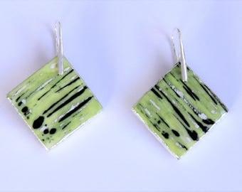 beautiful lime green porcelain earrings