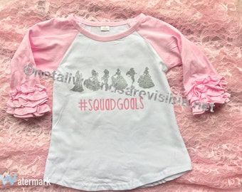 Squad Goals princess ruffle raglan t shirt toddlers