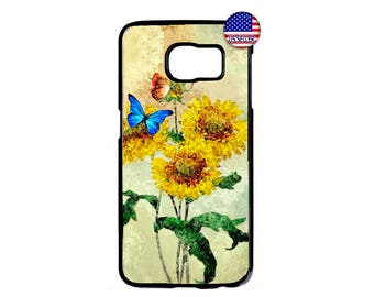 Sunflowers Butterflys Art Beautiful Hard Rubber TPU Case Cover For Samsung Galaxy S8 S7 S6 Edge Plus S5 S4 S3 NOTE 5 4 3 2 iPod Touch 4 5 6