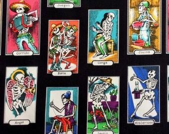 Fabric, Cartas de Vida, Alexander Henry, Small Loteria Card Skeletons in Black, By the Yard