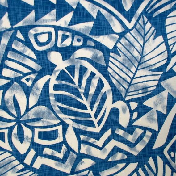 Fabric Honolulu Honu Hawaiian Sea Turtles Blue By The Yard