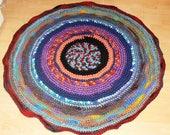 Bohemian Gypsy Häkelteppich aus Wollresten, Vorleger, Badezimmer Eco friendly colorful, Round Rug, Fire, Mandala