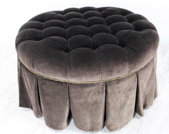 Mid Century Modern Tufted Gray Round Ottoman on Wheels By Baker