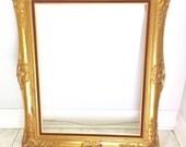 FRENCH PROVINCIAL FRAME (circa 1970s),  Gilded Gold Vintage with Red Velvet Trim  Large Frame