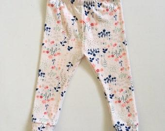 Infant/Toddler Knit Leggings-Pink/Navy Floral