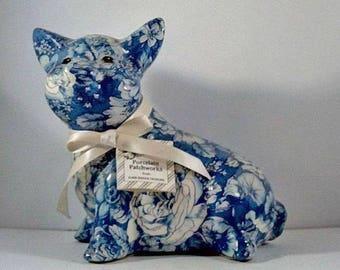 Joan Baker Patchwork Pig figurine, Vintage Pig Figurine Joan Baker Designs Joan Baker Figurine, Blue Patchwork Pig, Vintage Joan Baker