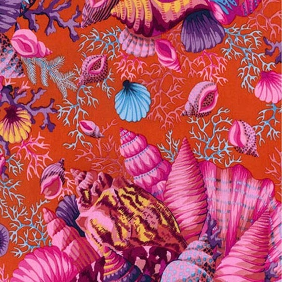 SHELL BOUQUET RED pwpj088 Philip Jacobs for Kaffe Fassett Collective Sold in 1/2 yd increments
