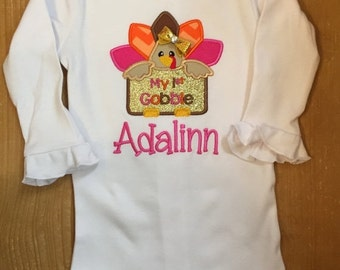 My 1st Gobble Pink, Gold, Orange, and Brown First Thanksgiving Shirt or Baby Bodysuit