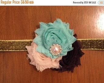 Peach, Mint, Dark Brown,  and Gold Shabby Flower Headband