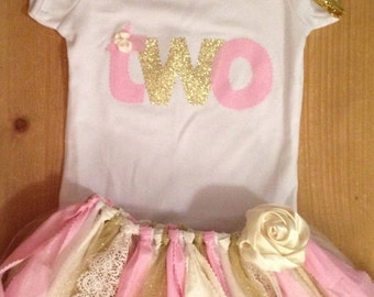Pink and Gold Birthday Tutu Outfit