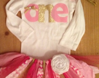 Pink and Gold Birthday Scrap Fabric Tutu Outfit