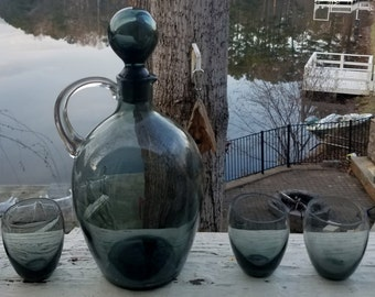 Mid Century Charcoal Glass Decanter with 5 Glasses