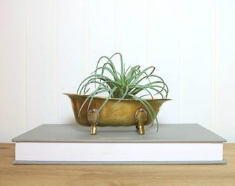 Brass Bathtub, Vintage Claw Foot Tub, Figurine, Air Plant Succulent Holder, Soap Dish, Paper Clip Holder, Catch-All Change Dish, Accents