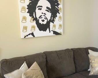 J Cole Painting (36x36) Pop Art, Cole World, J Cole art