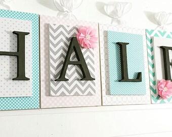 Nursery letters, Pink Gray Aqua Nursery, Personalized Letters, Girls Nursery Letters, Wooden Letters,Nursery Wall Letters,Customized Letters