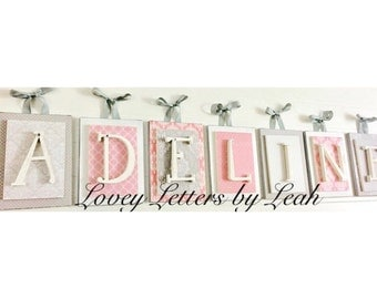 Pink and Gray nursery decor, Pink and gray nursery letters, wooden nursery letters for girl, nursery letters for girls, girls wall letters