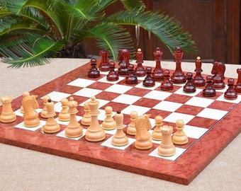"""Combo of Repro 1950 Dubrovnik Bobby Fischer Chess Pieces in Bud Rose & Box Wood and RedAshBurl MapleWooden Chess Board-3.62"""" King SKU: C0564"""