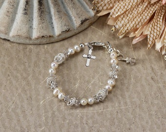 Sterling Silver First Communion Bracelet with Freshwater Pearls and Cross Charm with Gift Box for First Communion Gift for Girls (005)