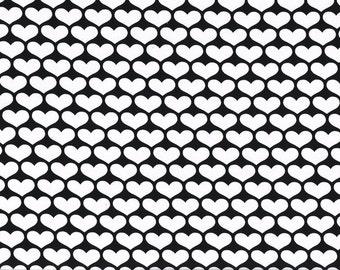 "SALE Knit Cotton Öko-Tex 63"" x 20"" White Hearts on  Black Fabric"