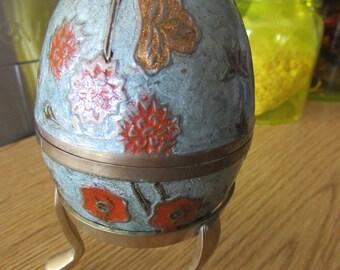 Vintage Cloisonne Egg and Stand Orange and Blue